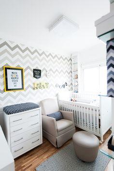 decor quarto de bebe zig zag cinza amarelo