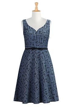 I <3 this Vintage key print chambray dress from eShakti