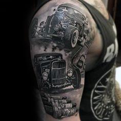 75 Insane Tattoos For Men – Masculine Ink Design Ideas Hot Rods Wahnsinnige Halbarm Tattoos Insane Tattoos, Tattoos 3d, Best Sleeve Tattoos, Tattoos For Guys, Tatouage Lowrider, Tatuagem Hot Rod, Tattoo Arm Mann, Hot Rod Tattoo, Truck Tattoo