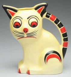 Cats in Decorative Arts: Czech Art Deco Pottery Cat Pitcher. Ceramic Pottery, Pottery Art, Ceramic Art, Art Nouveau, Vases, Art Deco Era, Vintage Cat, Vintage Pottery, Art Deco Design