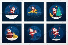 Santa Claus situations by DreamBikeShop on @creativemarket