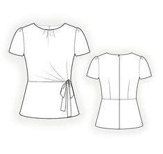 Blouse With Bow And Pleats - Sewing Pattern #4374 Made-to-measure sewing pattern from Lekala with free online download. Fitted, Darts, Waist seam, Pleats, Gathers, Zipper closure, Round neck, No collar, Short sleeves, Set-in sleeves, No pockets