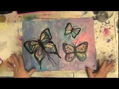 ▶ How to Art Journal - Mixed Media - Butterfly Journal Page - YouTube