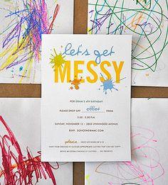 """Splatter Art  Sara, a stationary designer, made the custom invites. Gram created the """"messy"""" envelopes."""