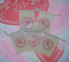 Valentine Set of 5 Cupid & Heart 4x6 Muslin Treat by HodgePodgeNC