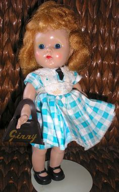 """VOGUE 8"""" HARD PLASTIC PAINTED LASH GINNY SL WALKER with Tagged Dress #DollswithClothingAccessories"""
