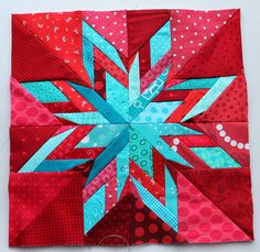 Fabulous color:  finished ohio star quilt block by wombatquilts, via Flickr