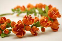 Make to order. Chaenomeles flowers crown. Hair wreath. Polymer clay flowers. Wedding headband on Etsy, $70.00