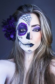 """Creative purple half Dia De Los Muertos make-up with purple crystal accents, titled """"Life and Death!"""" by Larissa Grace."""