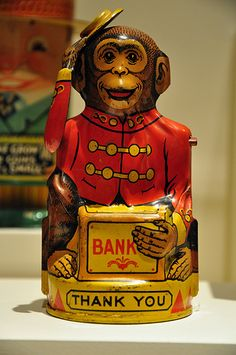 Vintage Chein & Co Mechanical Monkey Tin Bank