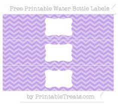 Free Pastel Purple Chevron Water Bottle Labels
