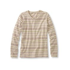 Ultrasoft Cotton Tee Crewneck, Multistripe ($25) ❤ liked on Polyvore featuring tops, t-shirts, striped crew neck t shirt, striped cotton tee, striped tee, striped t shirt and layered tops