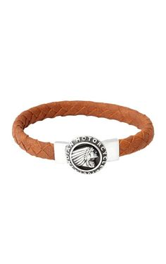 Thick Brown Braided Leather Bracelet with Indian Headdress Icon Clasp - King Baby