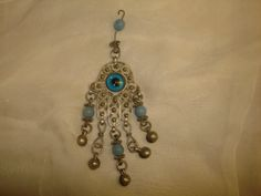 """Large Vintage Silver Filigree HAMSA Pendant with Glass Eye, Hand of Fatima, Evil Eye ~ (4-1/2"""" long x 1-1/2"""" wide) by PastPossessionsOnly on Etsy"""