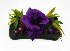 # Felted Clutch Art Bag WOLFSBANE Aconitum L. POISONS ♡ by filcant