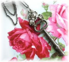 Antique Skeleton Key Necklace ROSE Flower by TheVintageHeart