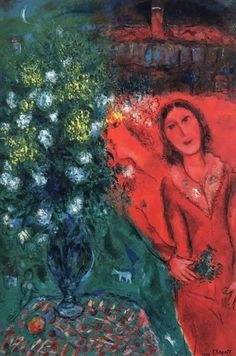 """MARC CHAGALL /""""COUPLE ABOVE SAINT PAUL/"""" Signed Limited Edition Art Lithograph"""