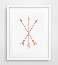 Arrow Print Coral and Pink Arrow Wall Art by MelindaWoodDesigns, $5.00