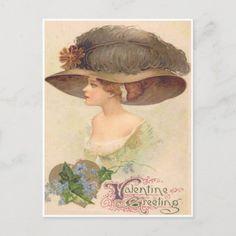 Vintage Retro Victorian Woman Valentine Card Diy Valentines Cards, Valentines Day Holiday, Victorian Valentines, Vintage Valentine Cards, Vintage Greeting Cards, Vintage Postcards, Gifts Love, Victorian Women, Holiday Postcards