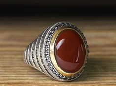 925 K Sterling Silver Man Ring Red Agate 10,25 US Size B22-65609 #istanbul #Cluster