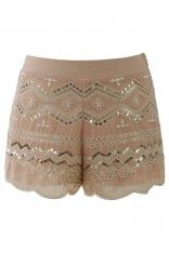 Sequins Embellished Shorts in Peach - Bottoms - Retro, Indie and Unique Fashion