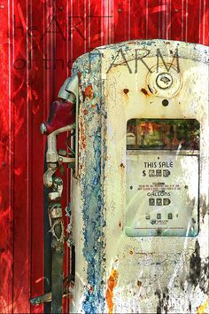 Vintage Gas Pump in red by heARToftheFARM on Etsy, $80.00