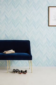 Gradient Chevron Wallpaper by Anthropologie in Blue, Wall Decor Wallpaper Chevron, Unique Wallpaper, Of Wallpaper, Wallpaper Designs, Man Cave Garage, Chevron Azul, Grey Chevron, Cave Bar, Chevron Bedding