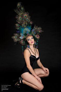 READY TO SHIP Peacock Fantasy Woodland fairy nymph goddess headdress headpiece gaga steampunk burlesque costume. $449.00, via Etsy.