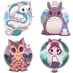 Kawaii Ghibli Stickers and/ or Prints or CatBus, Haku, Totoro, Mononoke - Happy Tiere Cute Kawaii Animals, Cute Animal Drawings Kawaii, Kawaii Art, Anime Kawaii, Cute Drawings, Kawaii Chibi, Kawaii Style, Anime Chibi, Pet Anime