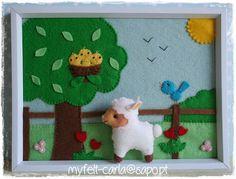 My Felt: Um quadro primaveril...I love the little scene in the frame, I want to try something similar