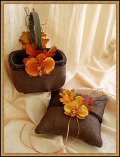 Rustic Wedding Earthy Burlap Ring Bearer Pillow and Flower Girl Basket, Chocolate Brown and Burnt Orange