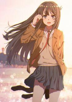 Seishun buta yarou a bunny girl Anime School Girl, Anime Girl Cute, Kawaii Anime Girl, Anime Art Girl, Manga Girl, Anime Love, Otaku Anime, Chica Anime Manga, Anime Shop