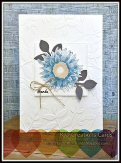 handmade greeting card ... sunflower in blue ... deep embossing folder leaf texture background ... Stampin' Up!