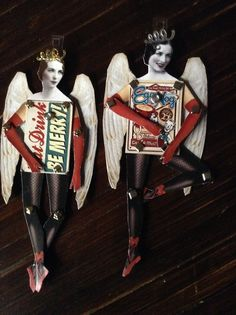 Paper doll Christmas angels