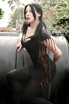 Post Apocalyptic Deconstructed Goth Zombie Grunge Shredded Industrial Boho Dress. $40.00, via Etsy.