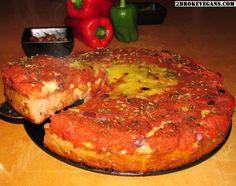 Gluten Free Vegan Deep Dish Pizza: http://2brokevegans.com/gluten-free-vegan-deep-dish-pizza-chicago-style/
