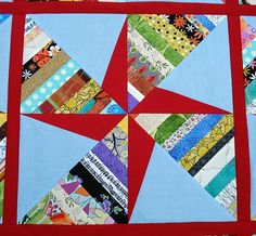 Double Pinwheel String Quilt tutorial