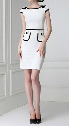 Color Block Retro Style Polyester Skinny Short Sleeves Plus Size Semi Formal Dress For Women Formal Dresses With Sleeves, Formal Dresses For Women, Casual Dresses, Short Sleeve Dresses, Short Sleeves, Long Sleeve, Skinny Shorts, Style Retro, Retro Styles