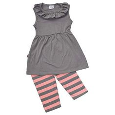 Girls Striped Summer Tank & Capri Boutique Outfit