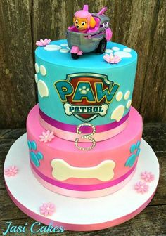 52 ideas for birthday cake diy dog Girls Paw Patrol Cake, Skye Paw Patrol Cake, Girl Paw Patrol Party, Paw Patrol Birthday Theme, 3rd Birthday Party For Girls, 3rd Birthday Cakes, Birthday Ideas, Birthday Cards, Happy Birthday