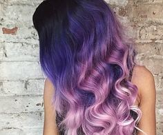 black, blue, purple and lilac dip dyed hair