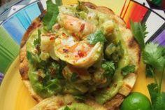 Grilled Shrimp Tostadas with a Creamy Tomatillo Avocado Salsa