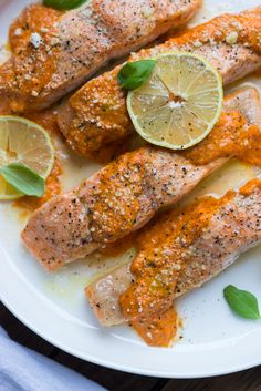Oven Roasted Salmon with Red Pepper Sauce - flaky salmon with creamy ...