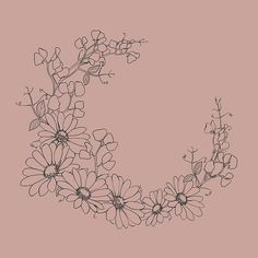 Floral Wreath with daisies and sweet peas. A botanical line drawing turned into a romantic wreath. Daisies Tattoo, Lily Flower Tattoos, Sister Tattoos, Friend Tattoos, Dainty Tattoos, Small Tattoos, Sweet Pea Tattoo, Border Tattoo, Michaelmas Daisy