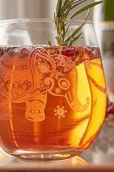 Etched Elephant Stemless Wine Glass - Urban Outfitters