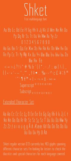 Free font Shket by Russian designer Juan Francisco Garrido.    Shket is a modern sans serif designed to be used at big point sizes, for example in spread headers or posters. Unlike many of the fonts that are given for free, Shket offers a pretty big charset that will cover many languages and symbols, making it ideal for any design job.
