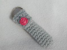 Keychain lip balm cozy  Grey Rose by honeybee69 on Etsy, $7.00