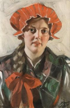 Svardsjo - portrait of young girl wearing red cap by ANDERS ZORN