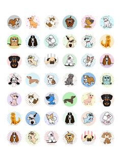 Dogs ~ Puppies Themed Printable Bottle Cap Images ~ 42 Different Designs!