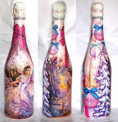 DECOUPAGE Champagne bottle ΝΤΕΚΟΥΠΑΖ ΜΠΟΥΚΑΛΙ ΣΑΜΠΑΝΙΑΣ